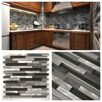 Silver Gray Glass & Aluminum Metal Mosaic Liner Tile For Kitchen Backsplash  | eBay