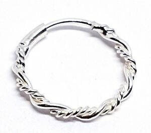 Twisted-Tribal-Wire-Ring-8mm-22g-0-6mm-Bright-925-Silver-Nose-Hoop-Ring-Septum