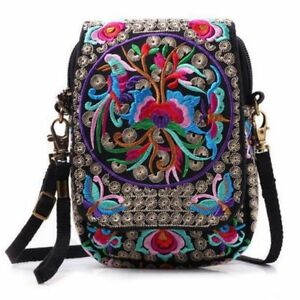Image is loading Women-Shoulder-Bag-Travel-Pouch-Retro-Floral-Embroidered-