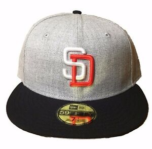 New Era San Diego Padres Heather Grey Navy Orange White 59FIFTY ... 53656ce90c98