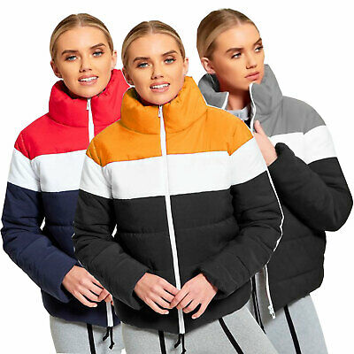 Ladies Women/'s Quilted Colour Block Puffer Padded Cropped Jacket Warm Thick Coat