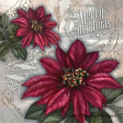 2 Paper Napkins For Decoupage Poinsettia Christmas Craft Scrapbook