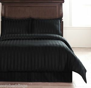 Image Is Loading Damask Stripe Black 5pc Queen Size Bed Duvet
