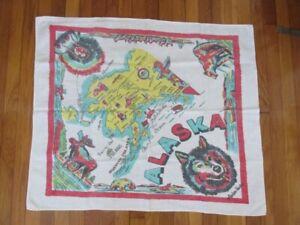 Vintage 1950s Alaska State Souvenir Tablecloth