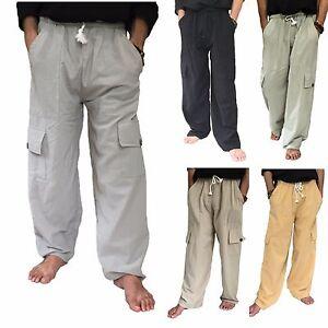 7d9ceb86d5 Men's 100% Cotton Cargo Pants One Size baggy pants Drawstring ...