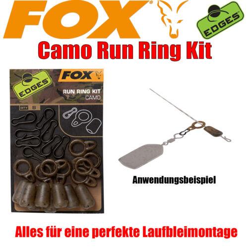 Fox Edges Camo Run Ring Kit 8Stück Laufbleimontage Einhänger Karpfenangeln Carp