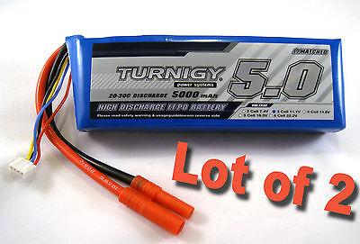 (2) TURNIGY Lipo Battery 3S 20C-30C 5000mAh 11.1v Lithium Polymer Pack 3 Cell J2