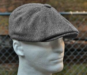 4bdcdf7381 Details about HERRINGBONE TWEED GATSBY Newsboy Cap Men Wool Ivy Hat Golf  Driving Flat Cabbie
