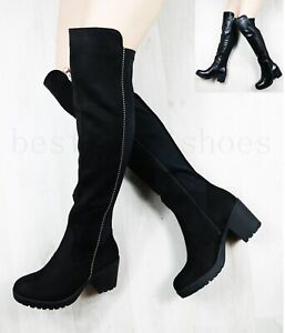 womens black long over the knee boots in PU with stud detail and zip fastening