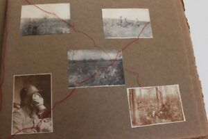 Lot-Fotos-WWI-schlachtfeld-soldat-mit-gasmaske-Manschaftsbild-auf-duennen-Papier