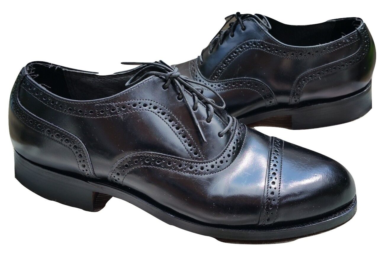 VINTAGE HANOVER CAP COMFORT PLUS EYELET PUNCHED CAP HANOVER TOE BLACK LEATHER OXFORDS 8 EEE 3a5b66