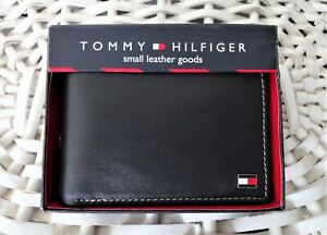 Men-039-s-Leather-Wallet-039-Tommy-Hilfiger-039-Bifold-BLACK-Coin-Pouch-MRP-59-OFFER