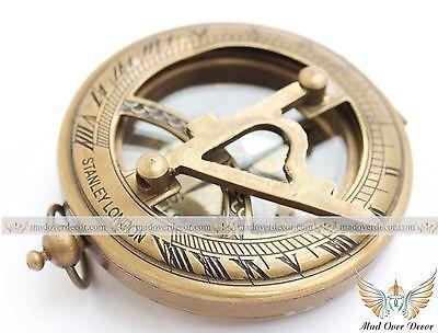 Brass Pocket Sundial Compass w// Lid ~ Antique Finish ~ Nautical Maritime
