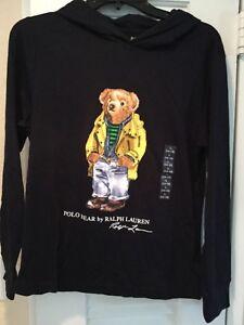29d848d2 Details about POLO Ralph Lauren Bear Hoodie T shirt cotton top Big Boys  18/20 NEW navy
