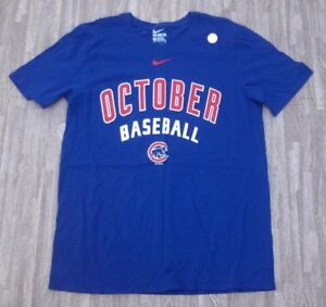 best value a68c3 ca122 Details about Chicago Cubs October Baseball Playoffs Nike Shirt ~ Men's  Medium M ~ Blue