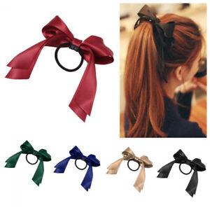 Women-Girls-Sweet-Elastic-Bow-Satin-Ribbon-Hair-Rope-Band-Ponytail-Holder