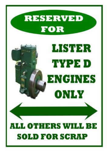 """LISTER D TYPE STATIONARY ENGINE funny /""""RESERVED SPACE/"""" METAL SIGN PLAQUE gift"""
