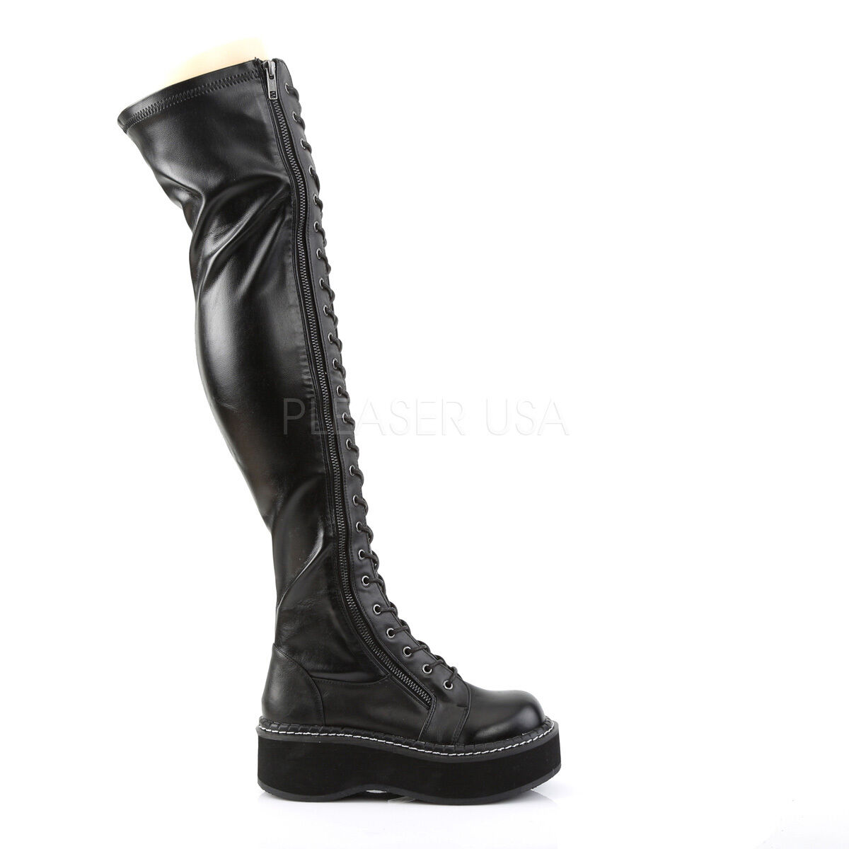 Demonia Demonia Demonia 2  Platform Stretch Matte Black Thigh High Zipper Boots Punk Goth 6-12 05e750