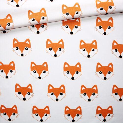 "GREY Black Orange WHITE 100/% COTTON FABRIC Fox Triangle meter EX WIDE 160 CM 64/"""
