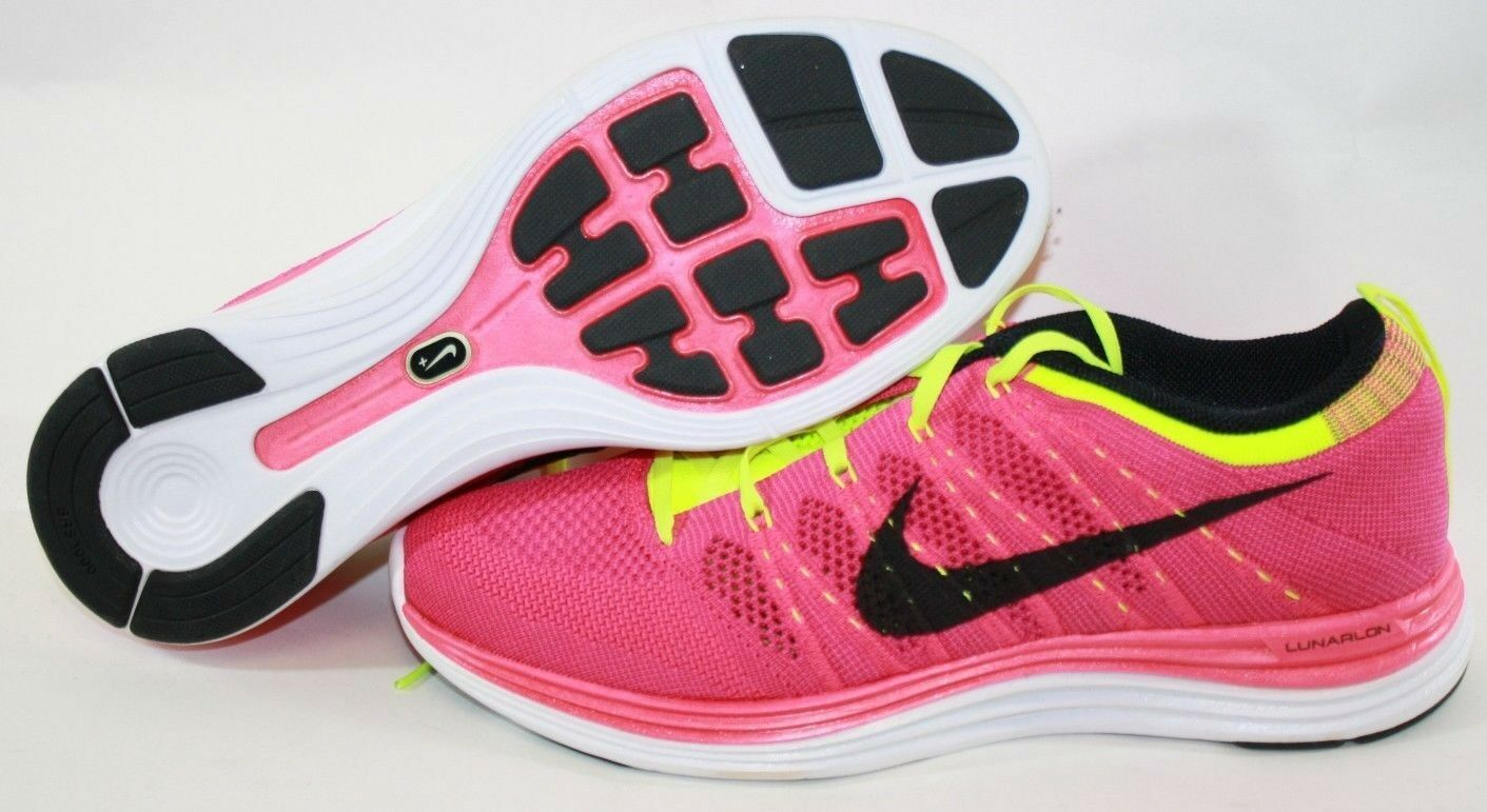 NEW Womens NIKE Flyknit One + 554888 606 Pink Flash Volt White Sneakers Shoes