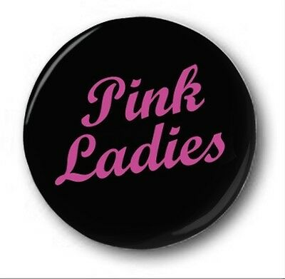 "Pink Ladies - 25mm 1"" Button Badge - Grease, Hen Do Party Pink on Black"