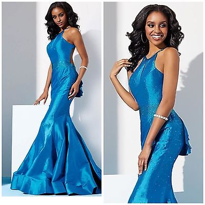 COLOR DRESS 1452 AQUE BLUE MARMAID LACE GOWN $499 SHERRI HILL,JOVANI,TERANI PROM
