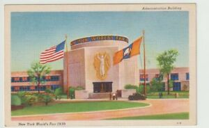 1939-Unused-Postcard-New-York-Worlds-Fair-Administration-Building-NYC-NY