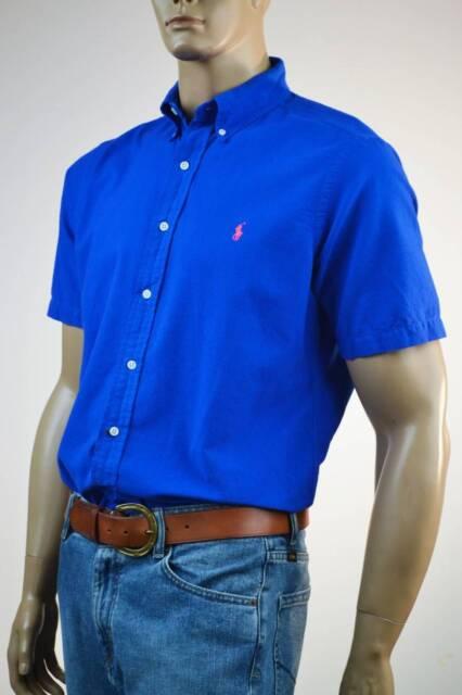 Ralph Lauren Classic Fit Oxford Cotton Royal Blue Short Sleeve Shirt/ Pony-L-NWT