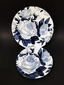 NEW-ROYAL-STAFFORD-WHITE-NAVY-BLUE-FLORAL-ROSE-DINNER-SALAD-PLATE