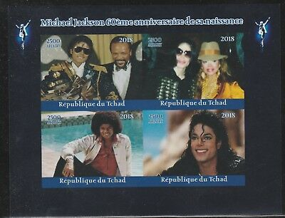Africa Brave Chad 7744-2018 Michael Jackson Imperf Sheet Of 4 Unmounted Mint Stamps