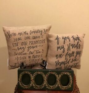 The Country House Collection Small Burlap Happy Place Pillow 8x8 X 2 Frame Ebay