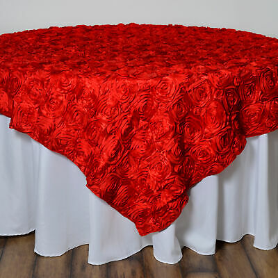 """White RIBBON ROSES 85x85/"""" TABLE OVERLAY Fancy Wedding Party Catering Decorations"""