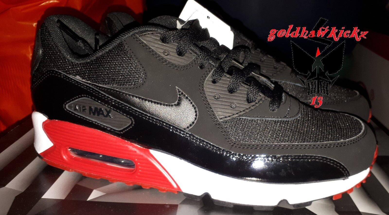 Nike air max 90 breds black red 537384 066 patent leather airmax Essential