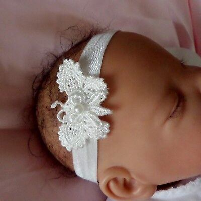Baby Headband Ivory lace butterfly newborn //3 months 3//6 months 6//12 months
