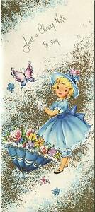 VINTAGE PRETTY BLONDE GIRL BLUE PARASOL FLOWERS 1 CHRISTMAS TOY SHOP ART CARD