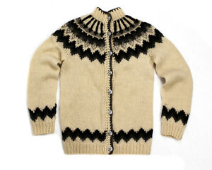 HILDA Ltd. ICELANDIC WOOL WOMENS NORDIC FAIR ISLE CHUNKY CARDIGAN ...