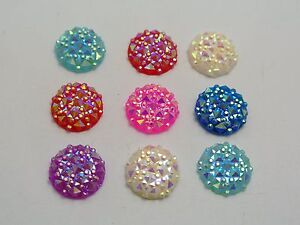 100-Mixed-Color-Flatback-Resin-Round-Cabochon-Gem-Pyramid-Dotted-Rhinestone-12mm
