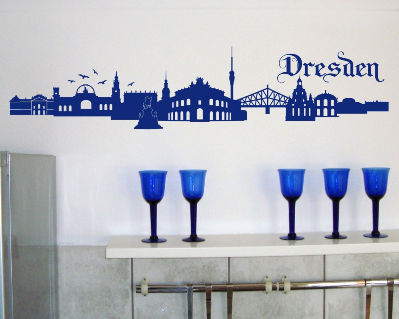 Samunshi Wandtattoo Dresden Skyline Wandaufkleber   25 Farben 7 Größen