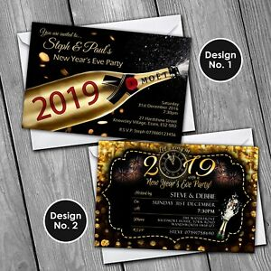 New Years Eve Invitations Personalised Party Invites 2019 Ebay