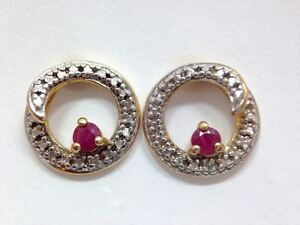 Image Is Loading Modern Round Natural Ruby Stud Earrings Yellow Gold