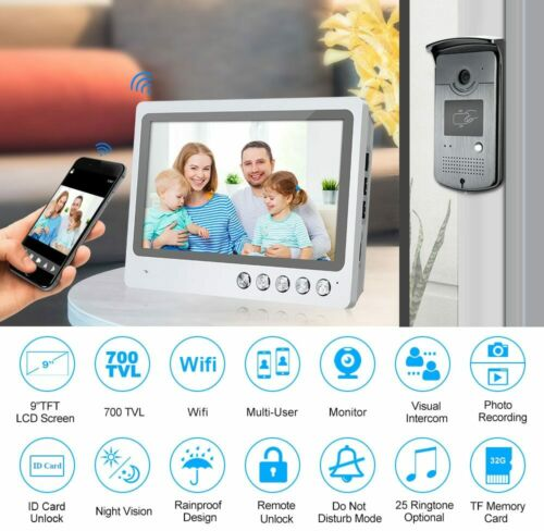 Wifi Video Intercom 9/'/' Monitor Record Door phone RFID IR Doorbell Remote Unlock