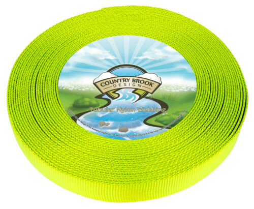 Country Brook Design® 1 Inch Hot Yellow Tubular Nylon Webbing 50 Yards