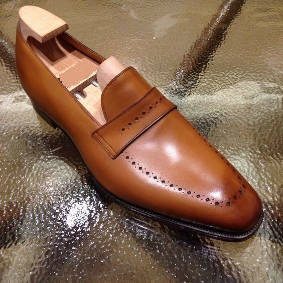 Handmade Uomo Tan brown Brogue leather shoes, Uomo leather moccasins loafer shoes