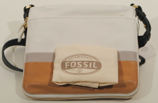 8d8f577c6 Fossil Preston Leather Crossbody White Brown w/ Dust Cover ZB6482994 $168  NWT's