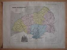 CARTE départementale SEINE MARITIME 1880 Rouen Le Havre Dieppe Yvetot NeufChâtel