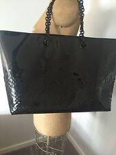 New Bottega Veneta Mosaic Lawyer Tote Woven Bag Black Patent Leather Chain LE