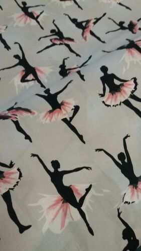 Grey Ballerina Print Fabric 100/% Cotton 112cm