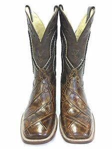 e104609583f Details about Men's Corral Boots Brown Alligator Wide Square Toe, Style  A3083