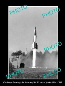 OLD-LARGE-HISTORIC-PHOTO-CUXHAVEN-GERMANY-THE-WWII-V2-ROCKET-LAUCH-c1945-2