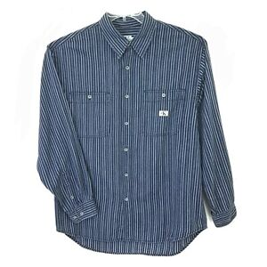 Calvin-Klein-Mens-Long-Sleeve-Dress-Shirt-Sz-XL-Blue-Gray-Cotton-Stripe